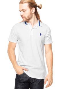 Camisa Polo Chicago Polo Club Bordado Com Fenda Branca/Azul