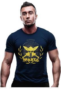 Camiseta Team Six Militar Molon Labe Estampa Dourada Azul-Marinho