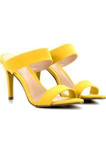 Sandalia Via Uno Bico Folha Salto Alto - Feminino-Amarelo