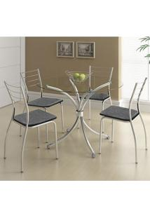 Mesa 375 Vidro Incolor Cromada Com 4 Cadeiras 1700 Fantasia Preto Carraro