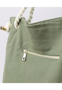 Bolsa Feminina Shopper Com Alças De Cordas Verde Militar