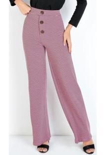 Calça Pantalona Rosa Com Botões