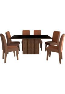 Conjunto De Mesa Com 6 Cadeiras Para Sala De Jantar 180X90 Ana/Tais-Cimol - Marrocos / Preto / Chocolate