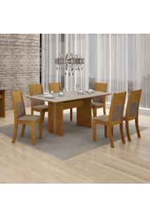 Conjunto De Mesa De Jantar Florença Com 6 Cadeiras Havai Veludo Imbuia Mel Off White
