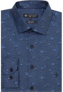 Camisa Dudalina Manga Longa Jacquard Fio Tinto Masculina (Azul Medio, 1)