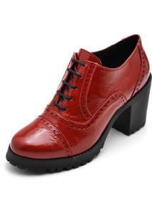 Ankle Boots Oxford Em Couro Feminino Maria Trevo Cano Curto Salto Grosso Tratorado - Vermelho