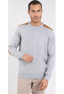 Suéter Masculino Em Tricô Com Suede Cinza Mescla