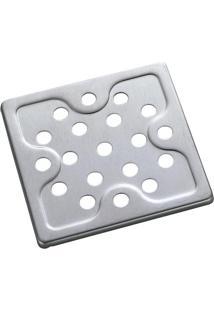 Grelha Quadrada Para Ralo Meber 15Cm Aço Inox Cromada