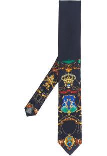 Dolce & Gabbana Gravata De Seda Com Estampa - Azul