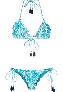Brigitte Biquíni Modelo Cortininha Estampado - Blue, White, Navy