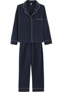 Pijama Longo Com Botões - 7Cbdrwqen9 Hering Feminino - Feminino-Azul