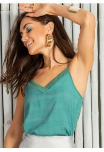 Blusa Decote V Estampada Com Alça Verde
