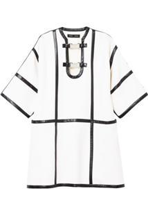Proenza Schouler Vestido Com Acabamento De Couro - Branco