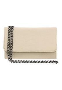 Bolsa Clutch Ponto K Pequena Alça De Corrente Off White