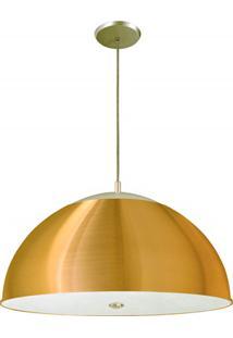 Pendente Redondo Em Alumínio Para 3 Lâmpadas 42Cm Dourado