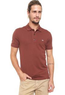 Camisa Polo Lacoste Slim Básica Marrom