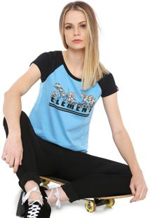 Camiseta Raglan Element Bloc Azul/Preta