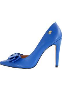 Scarpin Salto Alto Week Shoes Corte Lateral Com Laço Azul Escuro - Kanui