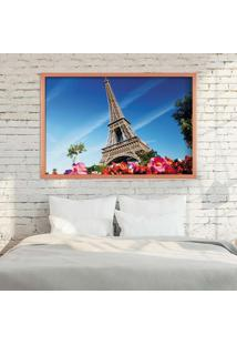 Quadro Love Decor Com Moldura Paris Fleurs Rose Metalizado Médio