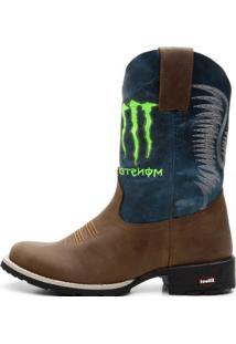 Bota Texana Ellest Monster Azul Escuro Com Cafe