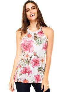 Regata Cativa Floral Metal Branca/Rosa