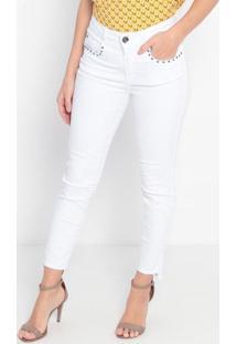 Calça Skinny Em Sarja Com Rebites & Destroyed- Branca