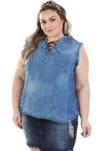Regata Feminina Jeans Com Decote Trançado Plus Size - Feminino-Azul