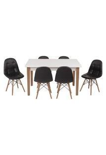 Conjunto Mesa De Jantar Luiza 135Cm Branca Com 6 Cadeiras Botonê - Preto