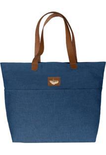 Bolsa Sacola Shopper Tecido Ii Azul Com Detalhes Em Couro