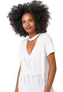 Camiseta Lez A Lez Choker Lettering Off-White - Off White - Feminino - Poliã©Ster - Dafiti