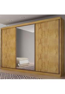 Guarda-Roupa Casal 3 Portas E 8 Gavetas Com Espelho Spazzio– Novo Horizonte - Freijo Dourado