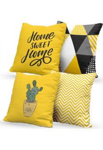 Kit 4 Capas De Almofadas Decorativas Own Amarelo Home Sweet Home E Cacto 45X45 - Somente Capa