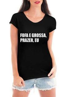 Blusa Criativa Urbana Prazer Eu T-Shirt Feminina - Feminino-Preto