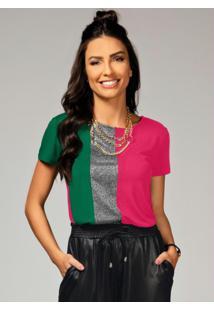 Blusa Verde E Pink Com Recorte Frontal