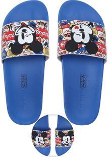 Rasteira Slide Zaxy Mickey Azul