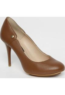 Sapato Tradicional Em Couro Com Tag- Marrom- Salto: Jorge Bischoff