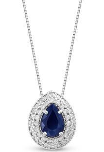 Pingente Ouro Branco Diamantes E Safira 10 Mm