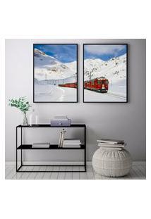 Quadro Oppen House 70X100Cm Trem Vermelho Na Neve Decorativo Interiores Sala De Estar Quartos Moldura Preta Com Vidro