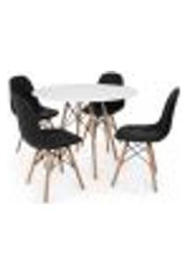 Conjunto Mesa Eiffel Branca 80Cm + 4 Cadeiras Dkr Charles Eames Wood Estofada Botonê Preta