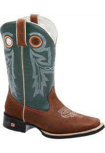 Bota Texana Em Couro Dexshoes Masculina - Masculino-Marrom+Verde