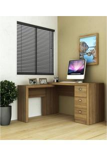 Mesa Em L Para Escritório Com 3 Gavetas Me4101 Tecno Mobili Amendoa