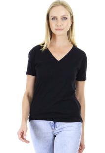 Camiseta Bã¡Sica Manga Curta Lisa Com Decote Em V E Acabamento Em Viã©S Aha - Preto - Feminino - Dafiti