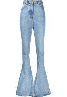 Balmain Calça Jeans Com Detalhe Monogramado - Azul