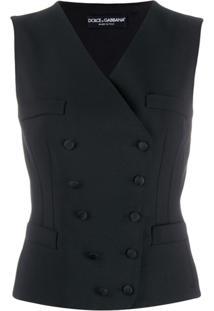 Dolce & Gabbana Colete Com Abotoamento Duplo - Preto