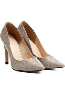 Scarpin Shoestock Croco - Feminino-Bege