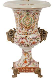 Vaso De Porcelana E Bronze - Linha Oriental