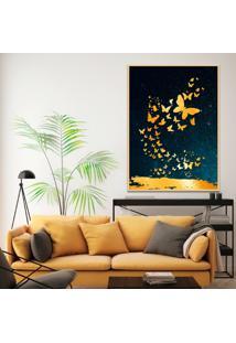 Quadro 67X50Cm Izar Borboleta Douradas Moldura Natural Com Vidro