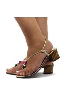 Sandália Tamanco Mule Feminino Enfeite Metalizado Salto Quadrado