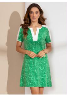 Vestido Clássico Poá Verde Com Recortes