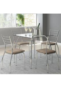 Mesa 1502 Vidro Incolor Cromada Com 4 Cadeiras 1700 Camurça Conhaque Carraro